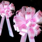 "10 BABY PINK WHITE 8"" TWO LAYER WEDDING PULL PEW BOWS FOR BRIDAL CAKE GIFT BASKET DECORCATION"