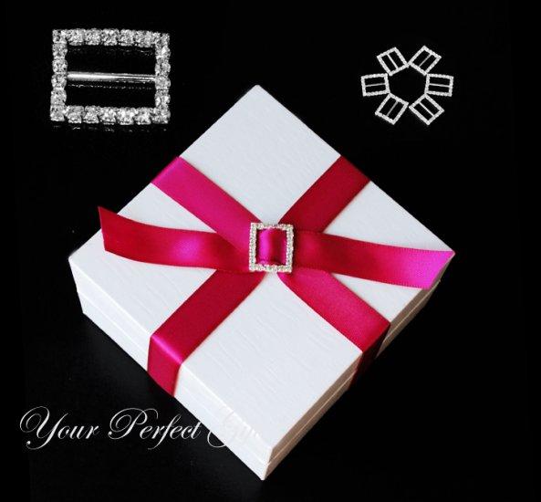 12 RECTANGLE 22mm Diamante Rhinestone Ribbon Silver Buckle Sliders For Wedding Invitation BK056