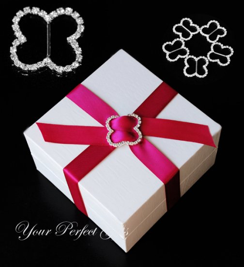12 BUTTERFLY Silver Diamante Rhinestone Ribbon Buckle Sliders Wedding Invitation BK078