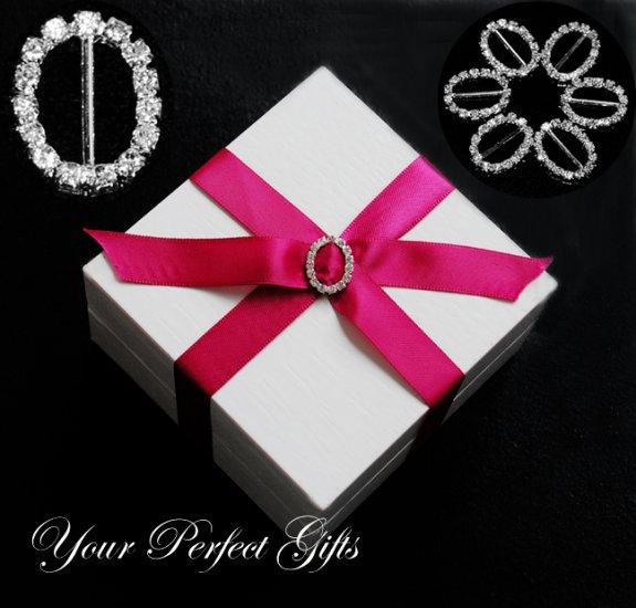 24 LARGE 20mm OVAL Silver Diamante Rhinestone Crystal Buckle Sliders For Wedding Invitation BK053