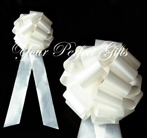 "10 IVORY 9"" LARGE WEDDING PULL PEW BOWS BRIDAL CAKE GIFT BASKET DECORATION PB098"