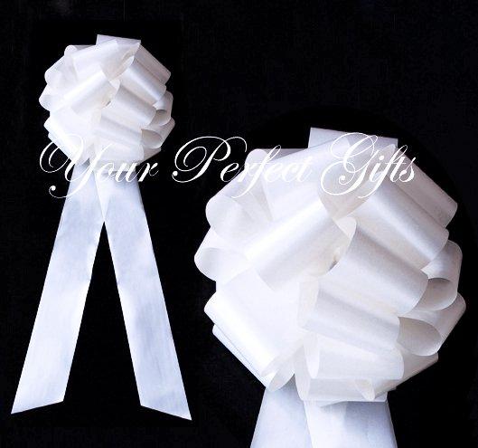 """10 WHITE 9"""" LARGE WEDDING PULL PEW BOWS BRIDAL CAKE GIFT BASKET DECORATION PB073"""