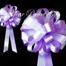 "10 LAVENDER PURPLE WHITE 8"" WEDDING PULL PEW BOW FOR BRIDAL CAKE GIFT BASKET DECORCATION PB018"