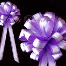"10 LAVENDER PURPLE WHITE 8"" TWO LAYER WEDDING PULL PEW BOWS BRIDAL DECORCATION PB020"