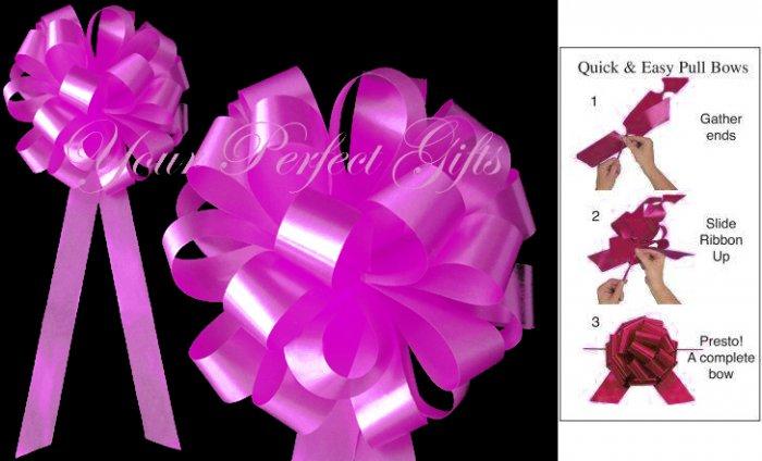 "10 FUCHSIA PINK 8"" WEDDING PULL PEW BOWS FOR BRIDAL CAKE GIFT BASKET DECORCATION PB048"