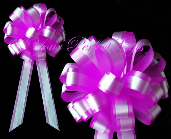 """10 FUCHSIA PINK WHITE 8"""" TWO LAYER WEDDING PULL PEW BOWS FOR BRIDAL CAKE GIFT BASKET DECORCATION"""