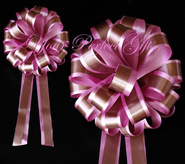 """10 CANDY PINK BROWN 8"""" TWO LAYER WEDDING PULL PEW BOWS FOR BRIDAL CAKE GIFT BASKET DECORCATION"""