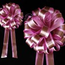 "10 CANDY PINK BROWN 8"" TWO LAYER WEDDING PULL PEW BOWS FOR BRIDAL CAKE GIFT BASKET DECORCATION"