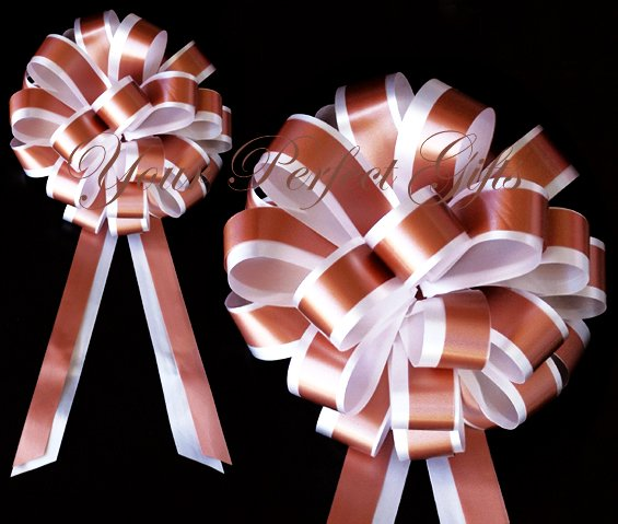 "10 WHITE BROWN 8"" TWO LAYER WEDDING PULL PEW BOWS FOR BRIDAL CAKE GIFT BASKET DECORCATION"