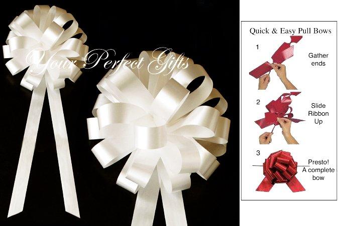 """10 IVORY 8"""" WEDDING PULL PEW BOWS FOR BRIDAL CAKE GIFT BASKET DECORCATION PB022"""