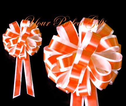 "10 BRIGHT ORANGE WHITE 8"" TWO LAYER WEDDING PULL PEW BOWS FOR BRIDAL CAKE GIFT BASKET DECORCATION"