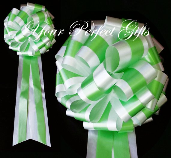 """10 WHITE & GREEN TWO LAYER 9"""" EXTRA WIDE WEDDING PULL PEW BOWS BRIDAL CAKE GIFT BASKET DECORCATION"""