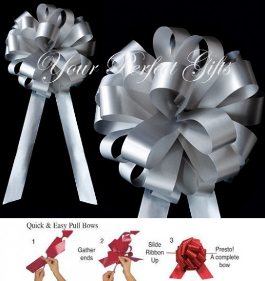 """10 SILVER 8"""" WEDDING PULL PEW BOWS FOR BRIDAL CAKE GIFT BASKET DECORCATION PB047"""