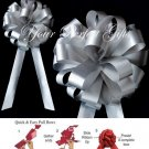 "10 SILVER 8"" WEDDING PULL PEW BOWS FOR BRIDAL CAKE GIFT BASKET DECORCATION PB047"