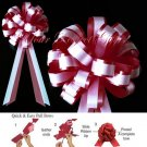 "10 BURGUNDY RED & WHITE 8"" TWO LAYER WEDDING PULL PEW BOWS FOR BRIDAL CAKE GIFT BASKET DECORCATION"