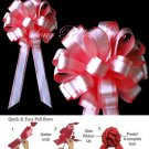 "10 SOFT RED ROSE & WHITE 8"" TWO LAYER WEDDING PULL PEW BOW  BRIDAL CAKE GIFT BASKET DECORCATION"