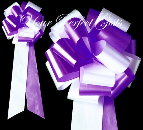 "10 WHITE PURPLE 9"" EXTRA WIDE WEDDING PULL PEW BOWS FOR BRIDAL CAKE GIFT BASKET DECORCATION"