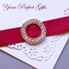 "12 Two Row 1-1/8"" ROUND Silver Diamante Rhinestone Ribbon Buckle Wedding Invitation BK038"