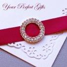 "24 Two Row 1-1/8"" ROUND Silver Diamante Rhinestone Ribbon Buckle Wedding Invitation BK038"