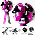 "10 BLACK FUCHSIA PINK 8"" WEDDING PULL PEW BOWS FOR BRIDAL CAKE GIFT BASKET DECORCATION PB036"