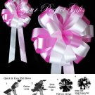 """10 WHITE CANDY PINK 8"""" WEDDING PULL PEW BOWS FOR BRIDAL CAKE GIFT BASKET DECORCATION"""