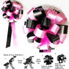 "10 BLACK CANDY PINK 8"" WEDDING PULL PEW BOWS FOR BRIDAL CAKE GIFT BASKET DECORATION PB092"