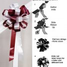 "10 BURGUNDY RED WHITE 8"" WEDDING PULL PEW BOW FOR BRIDAL CAKE GIFT BASKET DECORCATION PB014"