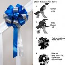 "10 ROYAL BLUE SILVER 8"" WEDDING PULL PEW BOW FOR BRIDAL CAKE GIFT BASKET DECORCATION PB157"