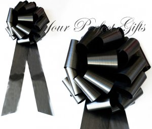 "10 BLACK 9"" LARGE WEDDING PULL PEW BOWS FOR BRIDAL CAKE GIFT BASKET DECORATION PB105"