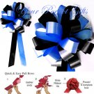 "10 ROYAL BLUE & BLACK 8"" WEDDING PULL PEW BOWS FOR BRIDAL CAKE GIFT BASKET DECORCATION PB160"