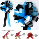 "10 TURQUOISE BLUE & BLACK 8"" WEDDING PULL PEW BOWS FOR BRIDAL CAKE GIFT BASKET DECORCATION"