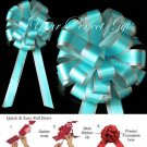 """10 TEAL BLUE SILVER 8"""" TWO LAYER WEDDING PULL PEW BOWS FOR BRIDAL CAKE GIFT BASKET DECORCATION PB176"""