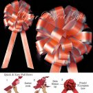 "10 BRIGHT ORANGE SILVER 8"" TWO LAYER WEDDING PULL PEW BOWS FOR BRIDAL CAKE GIFT BASKET DECORCATION"