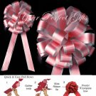 "10 SOFT RED ROSE SILVER 8"" TWO LAYER WEDDING PULL PEW BOWS FOR BRIDAL CAKE GIFT BASKET DECORCATION"