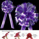 "10 DARK PURPLE SILVER 8"" TWO LAYER WEDDING PULL PEW BOWS FOR BRIDAL CAKE GIFT BASKET DECORCATION"