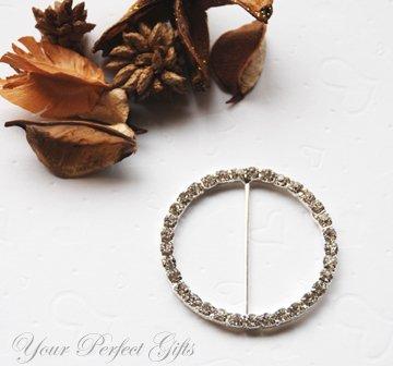 "50 ROUND CIRCLE 2"" Silver Diamante Rhinestone Buckle Sliders Wedding Invitation BK028"