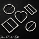 50 pcs of  SQUARE ROUND OVAL RECTANGLE HEART Silver Diamante Rhinestone Ribbon Buckle Sliders