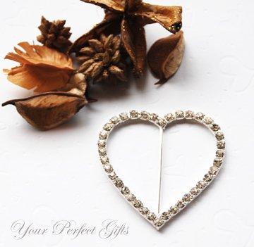 "50 HEART 2.25"" Silver Diamante Rhinestone Buckle Sliders Wedding Invitation BK036"