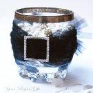 "1 pc SQUARE 1.25"" Silver Diamante Rhinestone Crystal Buckle Sliders Wedding Invitation BK023"