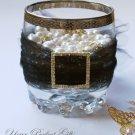 "1 pc SQUARE 1.25"" Gold Diamante Rhinestone Crystal Buckle Slider for Wedding Invitation BK040"