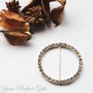 "1 pc 2"" ROUND Silver Diamante Rhinestone Crystal Buckle Sliders Wedding Invitation BK028"