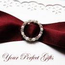 1 pc CIRCLE ROUND Silver Diamante Rhinestone Pearl Crystal Buckle Slider Wedding Invitation BK004