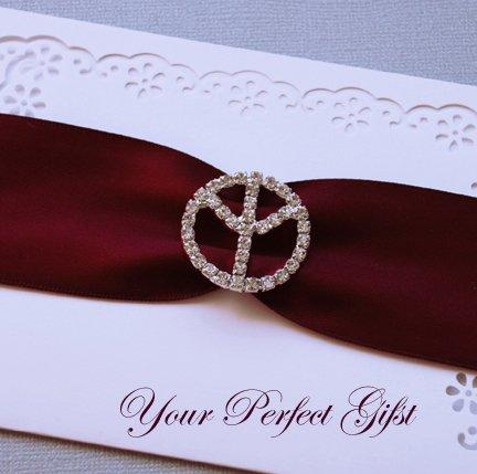 1 pc Round Peace Sign Silver Diamante Rhinestone Crystal Buckle Slider Wedding Invitation BK016