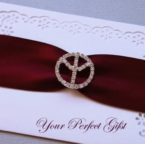1 pc Round Peace Sign Silver Diamante Rhinestone Crystal Buckle Slider Wedding Invitation BK016