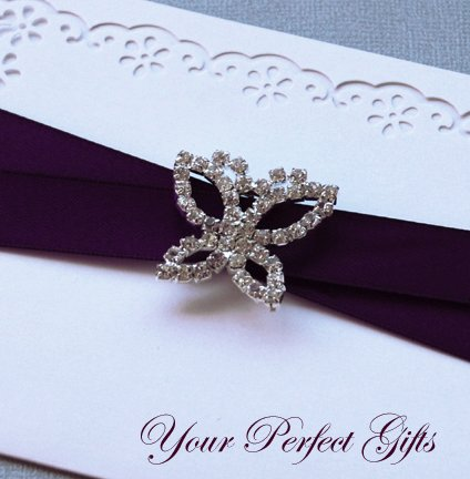"1 pc Butterfly 1-1/4"" Silver Diamante Rhinestone Crystal Buckle Slider Wedding Invitation BK043"