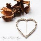 "1 pc 2.25"" HEART Silver Diamante Rhinestone Crystal Buckle Sliders Wedding Invitation BK036"