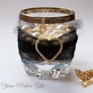 "1 pc HEART 1.5"" Gold Diamante Rhinestone Crystal Buckle Slider Wedding Invitation BK034"