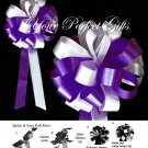 "10 DARK PURPLE WHITE 8"" WEDDING PULL PEW BOW FOR BRIDAL CAKE GIFT BASKET DECORCATION PB009"