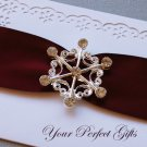 "1 pc 1-3/4"" Snowflake Silver Diamante Rhinestone Crystal Buckle Slider Wedding Invitation BK068"