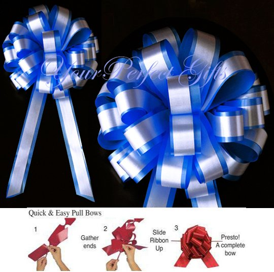 "10 ROYAL BLUE WHITE 8"" TWO LAYER WEDDING PULL PEW BOWS FOR BRIDAL CAKE GIFT BASKET DECORCATION PB032"